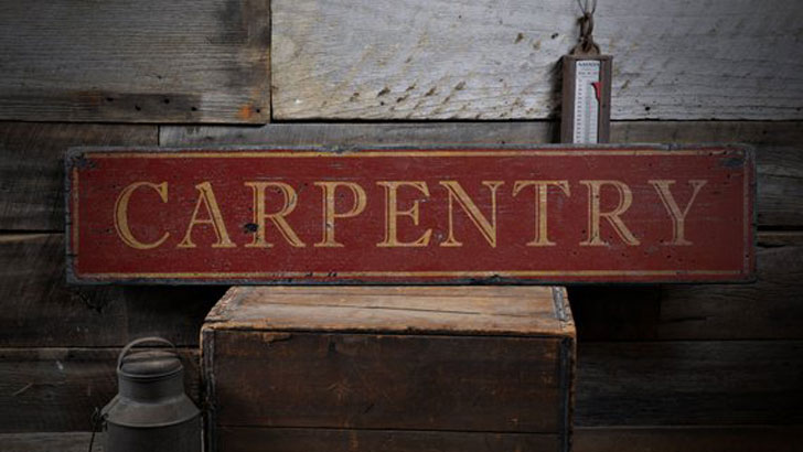 Rustic Hand Made Distressed Wood Carpentry Sign