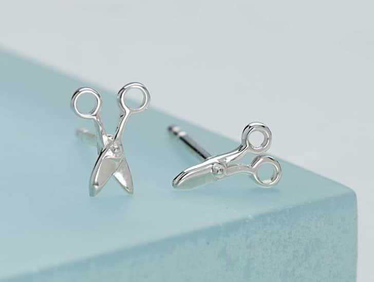 Silver Scissors Stud Earrings
