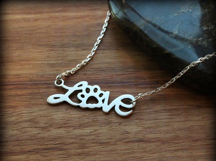 Sterling Silver Love Paw Necklace