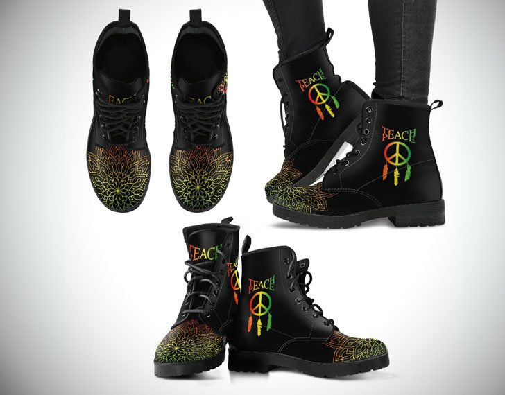 Teach Peace Dreamcatcher Boots in Rasta Colours