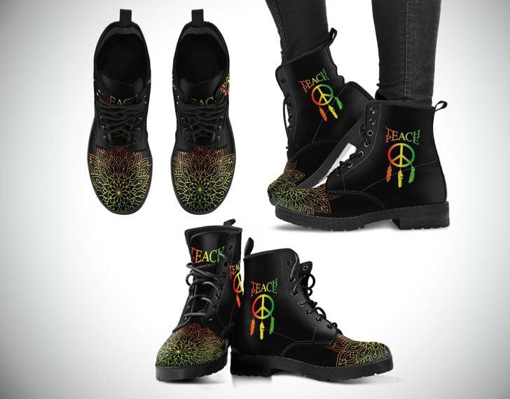 Teach Peace Dreamcatcher Boots in Rasta Colours