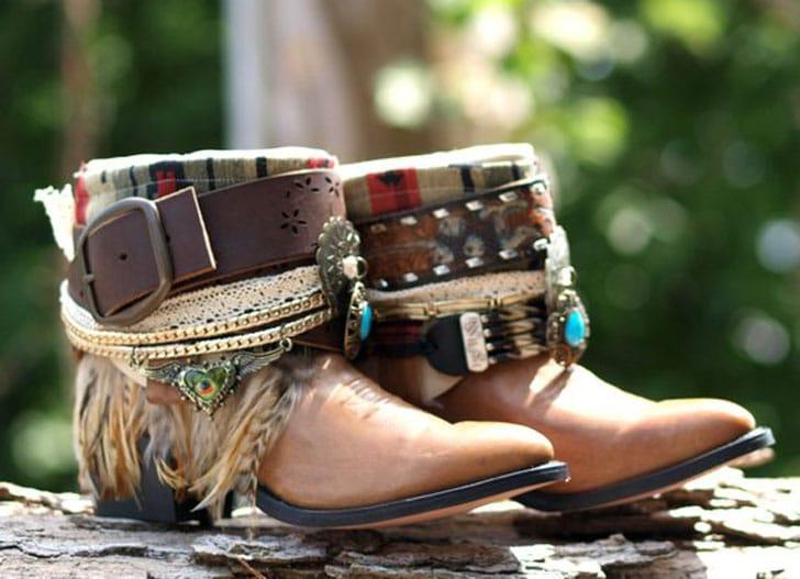 Upcycled Vintage Boho Tribal Boots