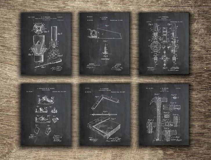 Vintage Carpenter Tools Patent Prints