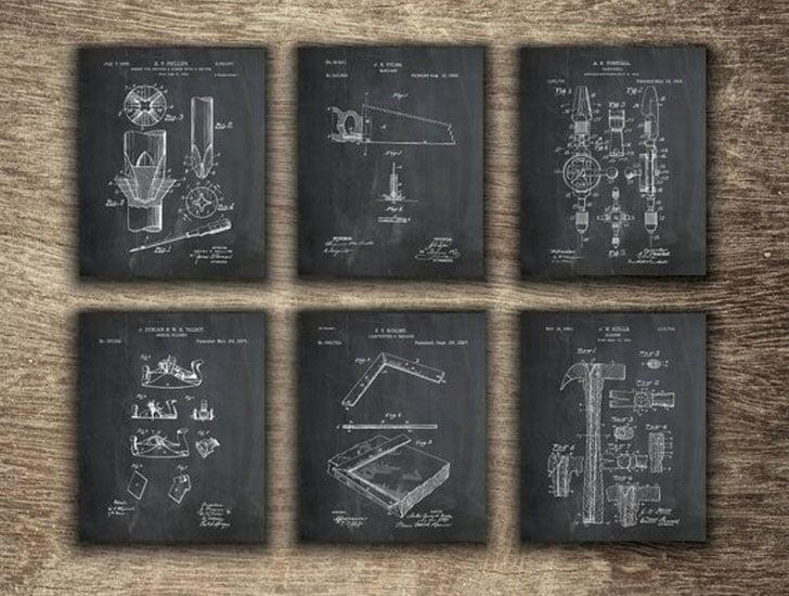 Vintage Carpenter Tools Patent Prints