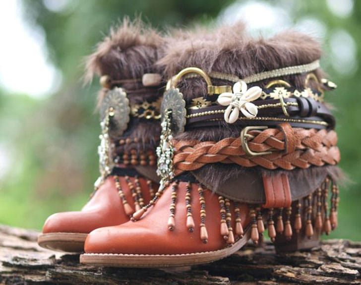 Vintage Upcycled Festival Boho Boots