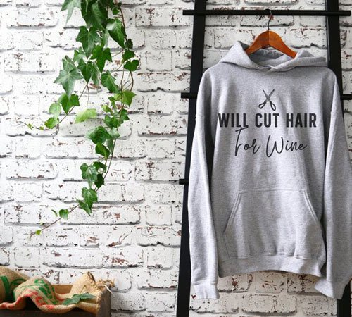 Will Cut Hair For Wine Hoodie
