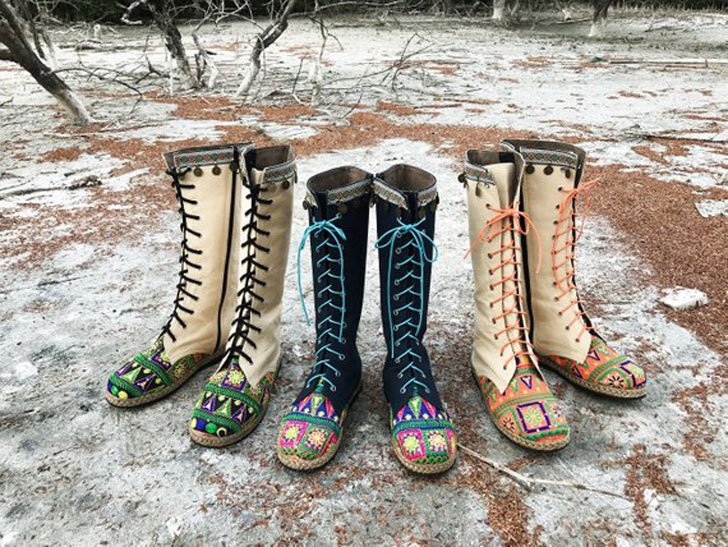 Womens Ethnic Embroidered Tall Boho Boots