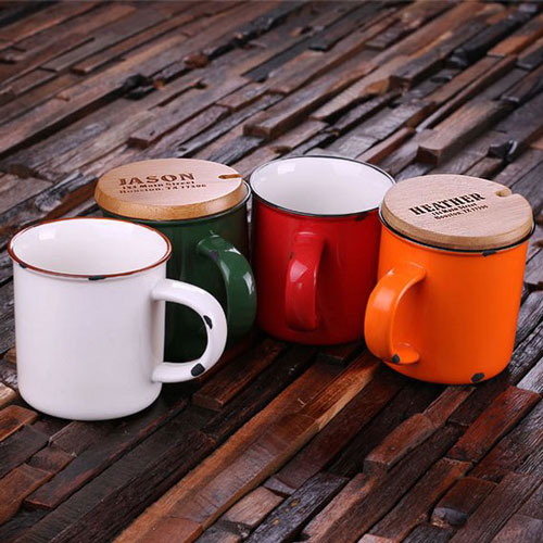 11 oz. Personalized Enamel Ceramic Mugs