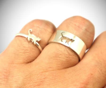 Cat Couple Set Promise Rings