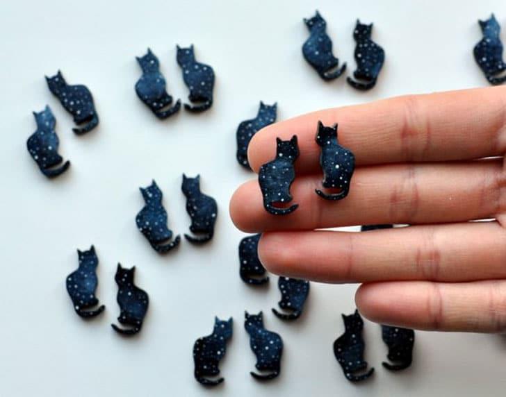 Cosmic Cat Stud Earrings