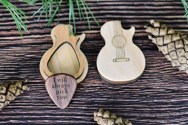 Custom Personalised Wooden Pick with Guitar Shaped Box
