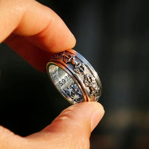 Embossed Tibetan Buddhist Symbol Spinner Ring