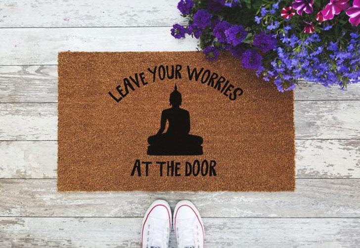 Leave Your Worries at the Door Buddha Doormat
