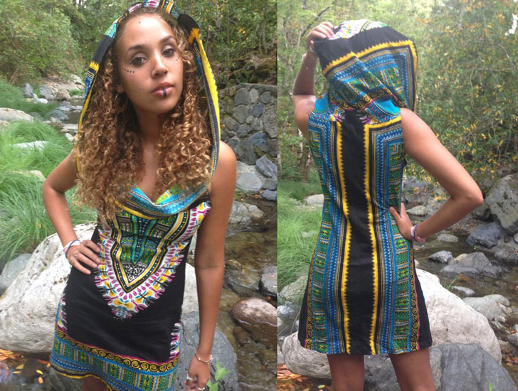Midnight Priestess Tribal Hippie Hoodie Dress