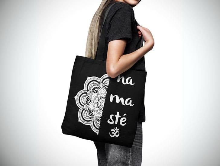 Namaste Om Lotus Tote Bag