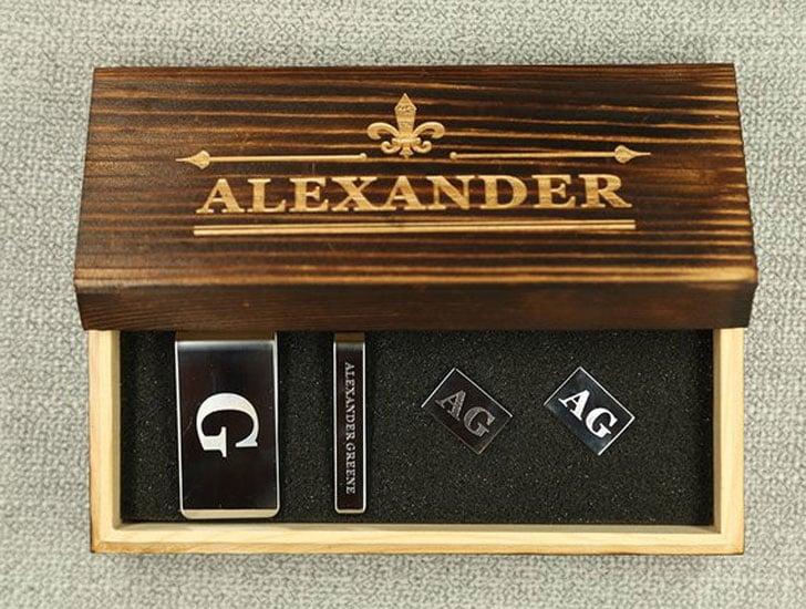 Personalized Men's Gift Set, Money Clip Tie Pin Cufflinks Set
