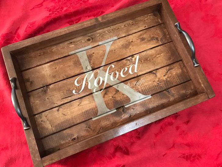 Personalized Rustic Tray - Farmhouse Decor