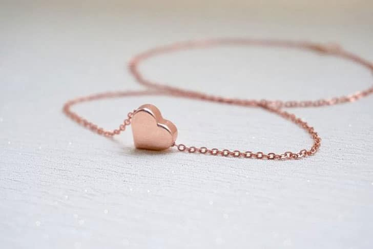 Rose Gold BFF Heart Necklace