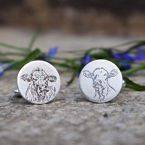 Silver Cow Cufflinks