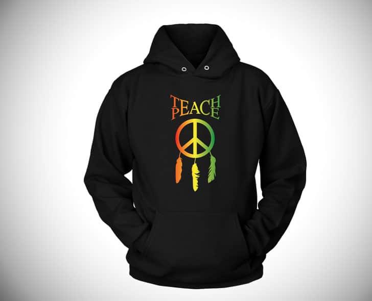 Teach Peace Dreamcatcher Hoodie - Boho hippie hoodies