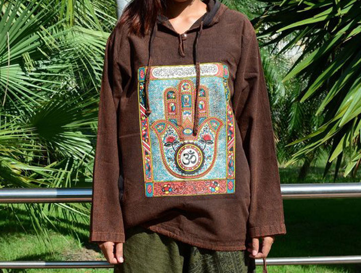 The Boho Hamsa Hippie Hoodie Jumper Jacket