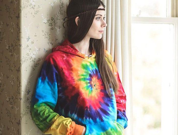 Tie Dye Rainbow Hippie Hoodie
