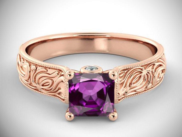 1 1/2 Carat Purple Amethyst Engagement Ring
