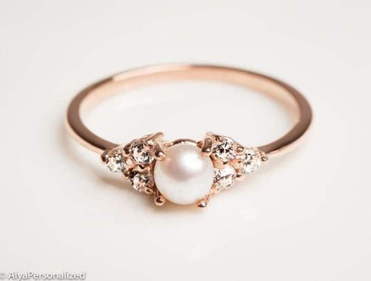 14k Rose Gold Pearl Engagement Ring