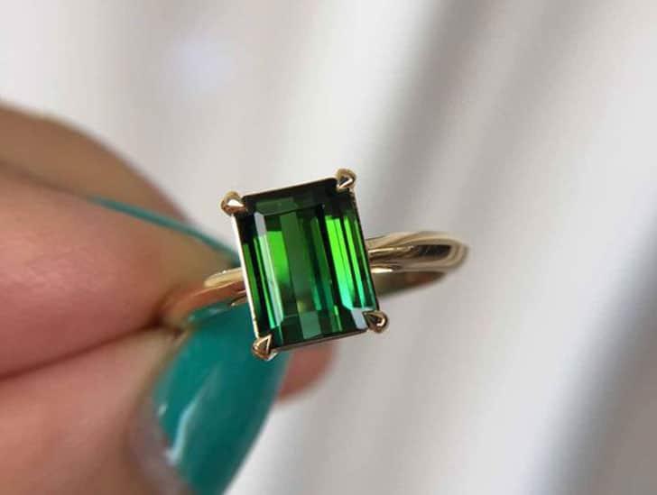 2.3 Carat Green Tourmaline Engagement Ring