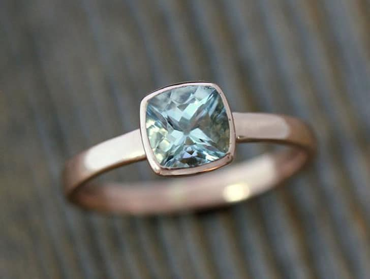 Aquamarine Engagement Ring in 14k Rose Gold