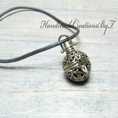 Bronze Aromatherapy Diffuser Necklace With Vegan Cord