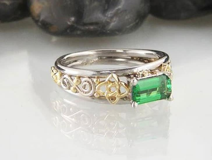 Custom Tsavorite Emerald Cut Engagement Ring
