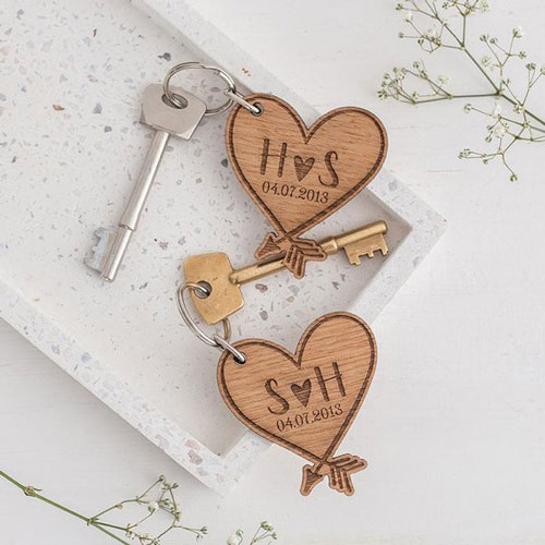 Date and Initials Couples' Keyrings