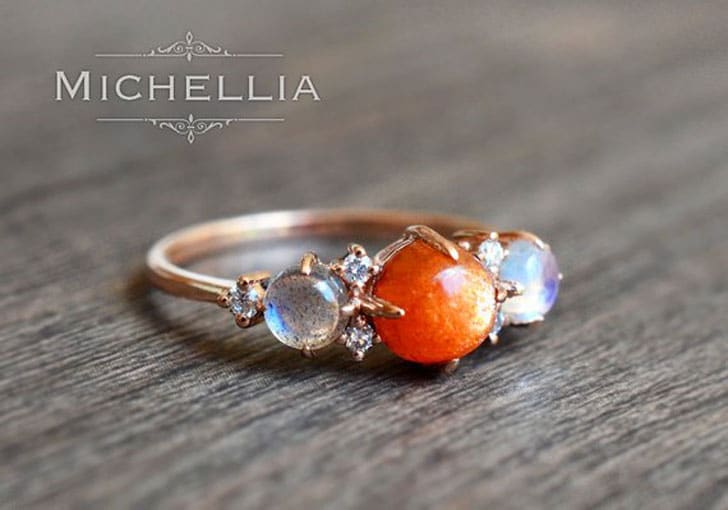 Galaxy Trio Ring in Sunstone & Labradorite - The Moon & Star Engagement Ring