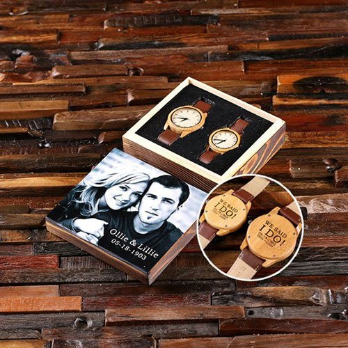 His & Hers Engraved Wood Watch Set