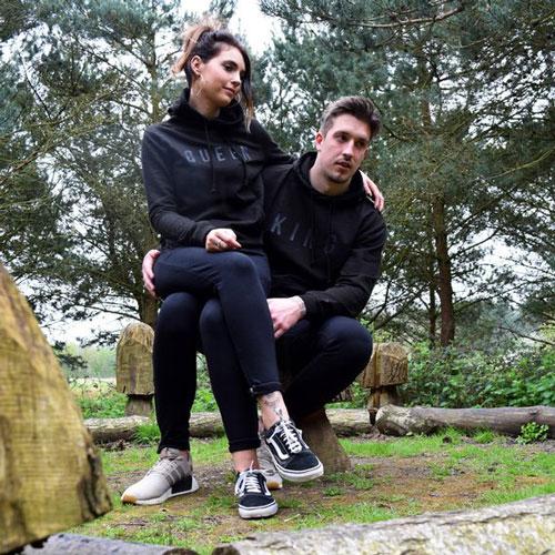 King & Queen Embossed Black Couples Hoodies