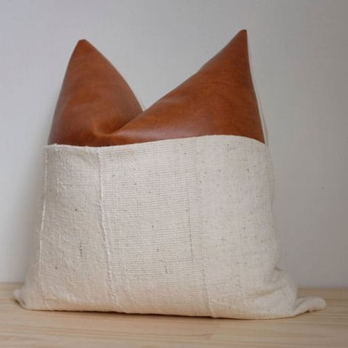 Natural Mudcloth and Faux Leather Pillow Cover