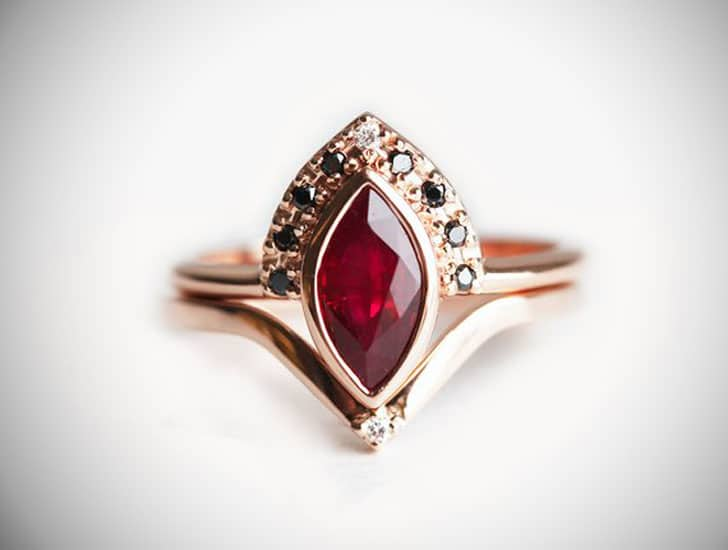 Natural Ruby Engagement Ring in Rose Gold