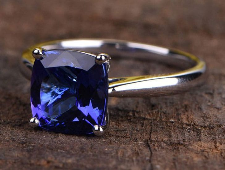 Natural Tanzanite Engagement Ring In White Gold