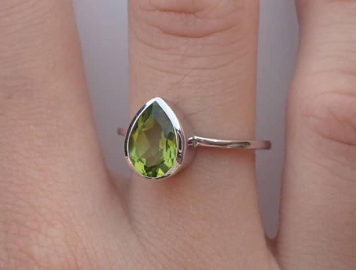 Pear Shape Peridot Engagement Ring