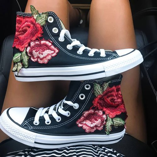 Rose Embroidery Hi-Top Converse