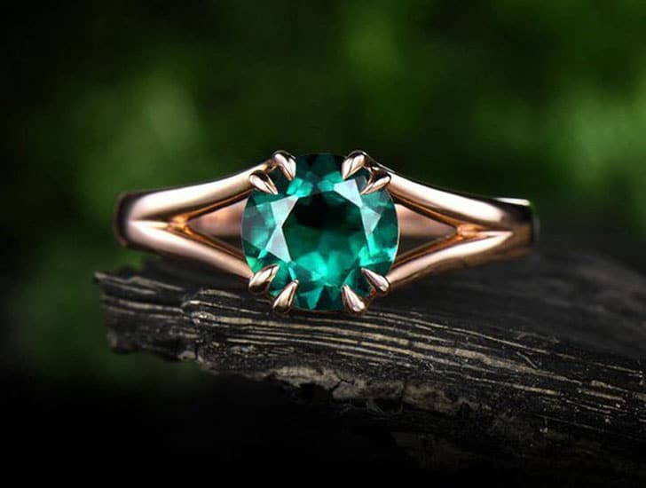 Rose Gold Emerald Engagement Ring