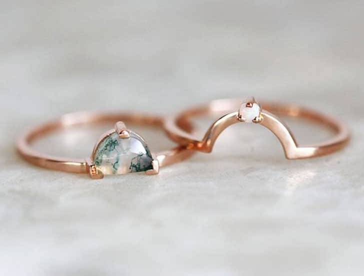 Rose Gold Moss Agate Ring Set
