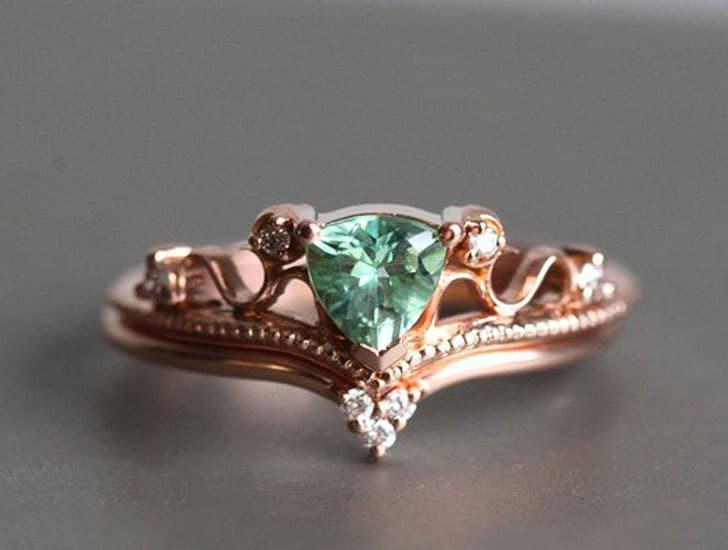 Rose Gold Tourmaline Ring Set
