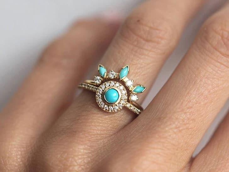 Turquoise Dream Catcher Ring Set