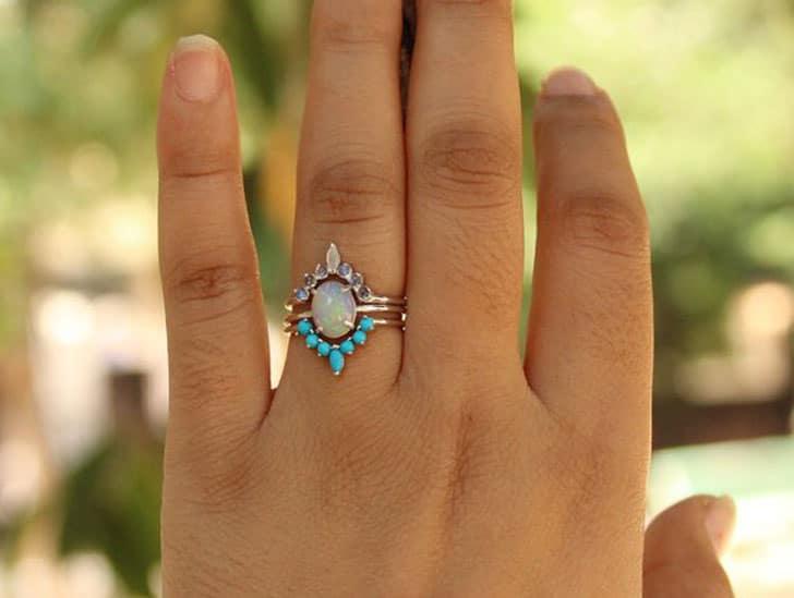 Turquoise & Rainbow Moonstone Crown Engagement Combination Ring Set