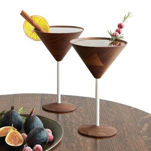 Wooden Martini Glasses - Set of 2