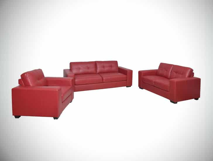 Club 3pc Tufted Bonded Leather Sofa Set
