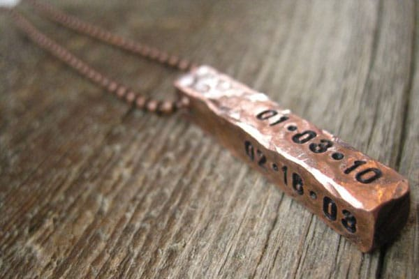 Custom Copper Baby Stat Necklace