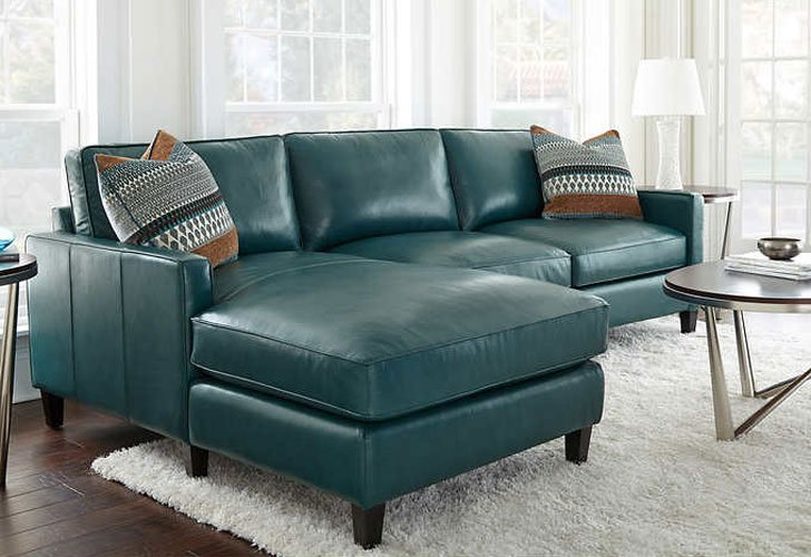 Dark Turquoise Top Grain Leather Chaise